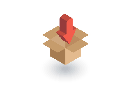 Packaging, carton box load isometric flat icon. 3d vector colorful illustration. Illustration
