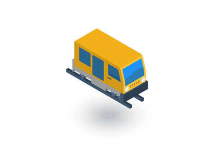 train, tram, rails transport isometric flat icon. 3d vector colorful illustration. Pictogram isolated on white background