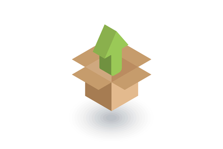 packaging, carton box unload isometric flat icon. 3d vector colorful illustration. Pictogram isolated on white background Illustration