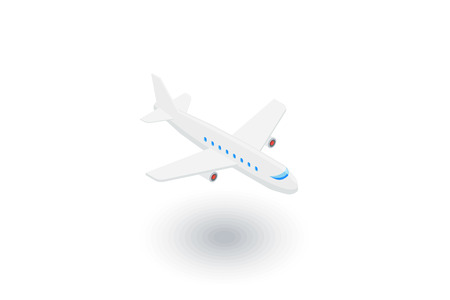 airplane travel: airplane, boeing plane, travel isometric flat icon. 3d vector colorful illustration. Pictogram isolated on white background Illustration