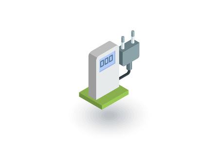 vehicle icon: Electric vehicle charging station, ecology isometric flat icon.