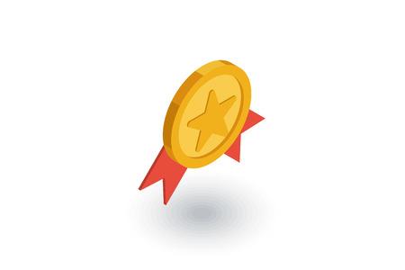 Medal, award isometric flat icon. Иллюстрация