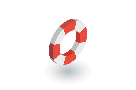 Lifebuoy isometric flat icon.