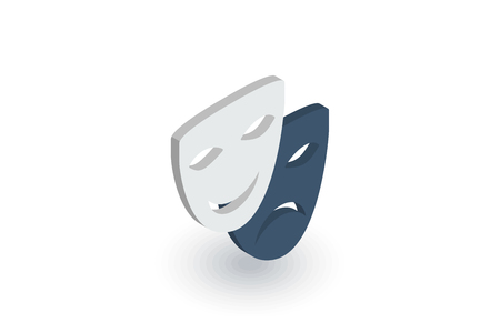 theatrical performance: Theater mask isometric flat icon. Illustration