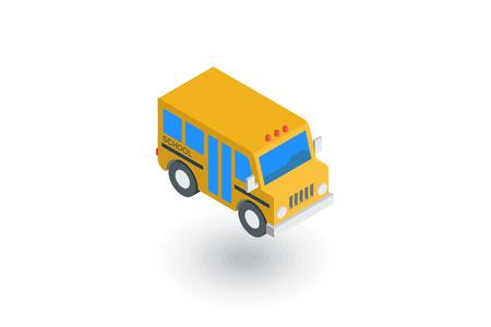car wheels: School bus isometric flat icon.