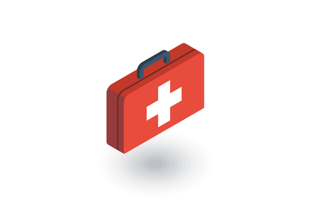 firstaid: Medicine chest isometric flat icon. Illustration