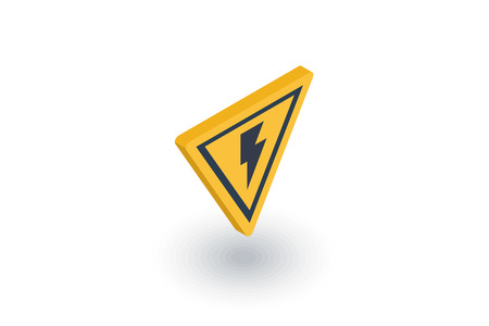 warn: Sign of danger, high voltage isometric flat icon.