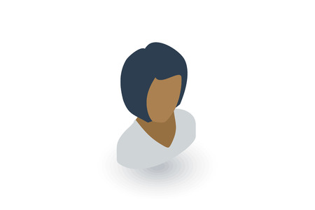 beauty girls: Avatar black woman isometric flat icon.
