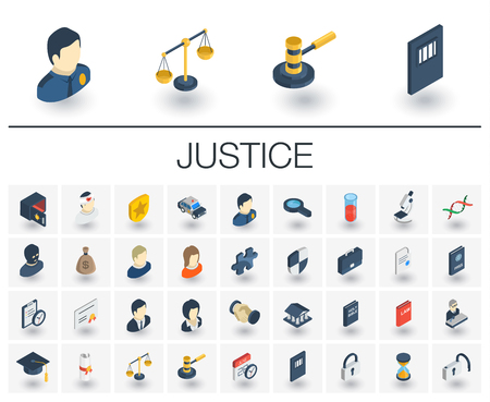 Isometric flat icon set. 3d vector colorful illustration with justice, law symbols.