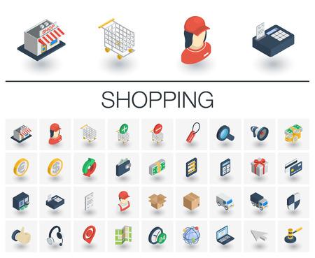 Isometric flat icon set. 3d vector colorful illustration with shoppig symbols. Illustration