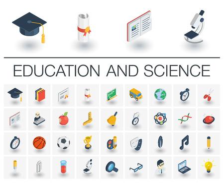 Icono plano isométrico conjunto. 3d ilustración vectorial de color con la educación, el aprendizaje, pensar símbolos. Libro, microscopio, calculadora, lápiz, elearning, profesor pictograma colorido aislado en blanco Ilustración de vector