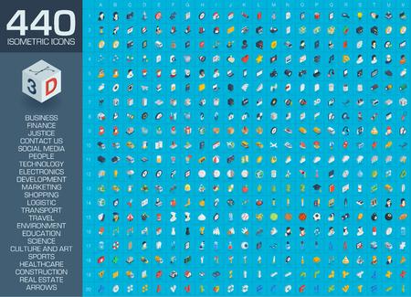 3D-web pictogrammen instellen. Vectorillustratie van isometrische vlakke symbolen voor zaken, contacteer ons, ontwikkeling, sociale media markt, seotechnologie, winkel, onderwijs, sport, gezondheidszorg, kunst en bouw.