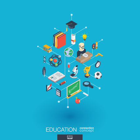 Education integrated 3d web icons.