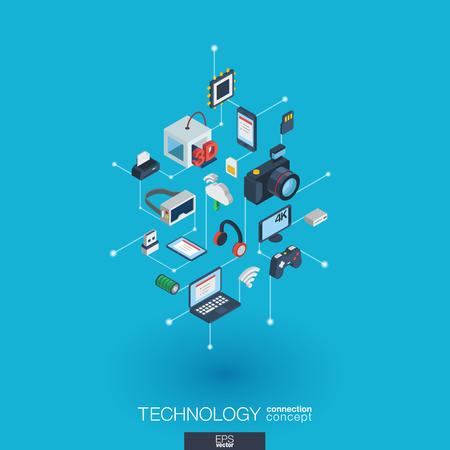 技術は、3 d の web アイコンを統合されています。  イラスト・ベクター素材