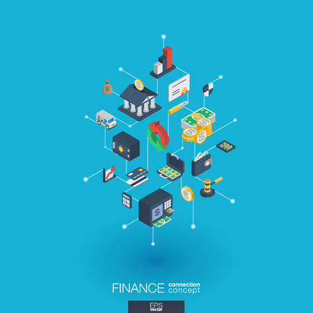 Finance integrated 3d web icons. Illustration