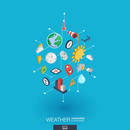 windsock: Weather forecast integrated 3d web icons. Illustration