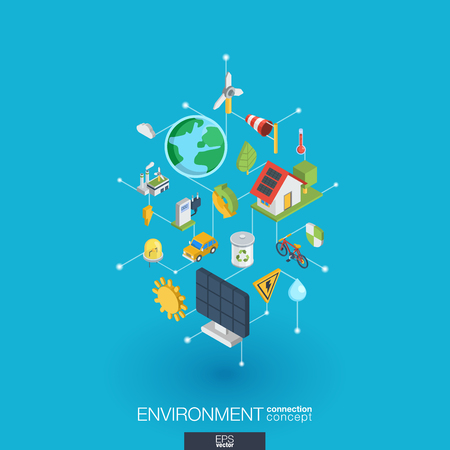 Environmental integrated 3d web icons.