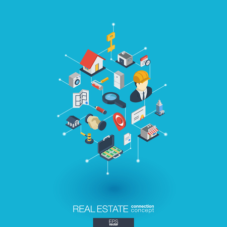 Real estate integrated 3d web icons.