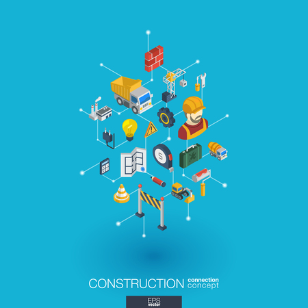 Construction integrated 3d web icons.