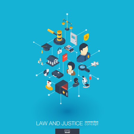 penal system: Law, justice integrated 3d web icons. Illustration