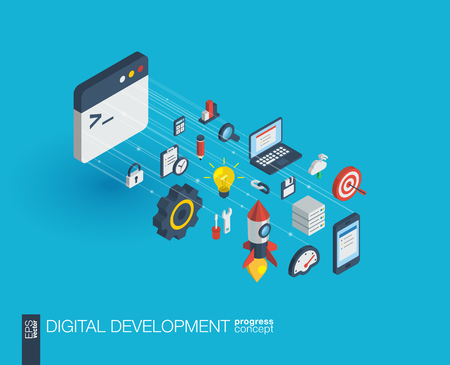 Development integrated 3d web icons. Digital network isometric progress concept. Connected graphic design line growth system. Abstract background for programming, coding, app design. Vector Infograph Illustration
