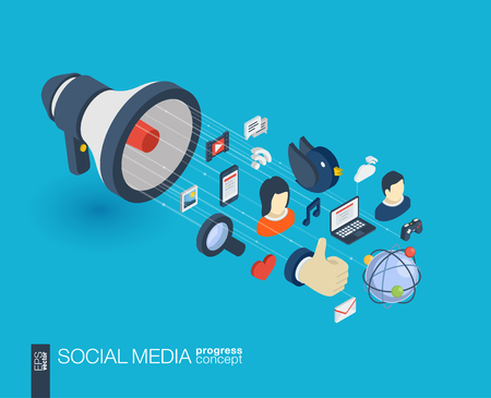 Social Media integrated 3d web icons. Digital network isometric progress concept. Connected graphic design line growth system. Background for market service, communicate and share. Vector Infograph