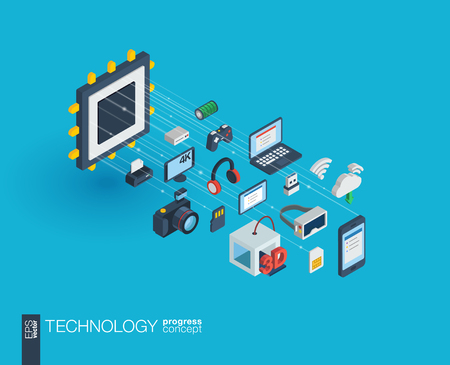 digital printing: Technology integrated 3d web icons. Digital network isometric progress concept. Connected graphic design line growth system. Background whith wireless printing and virtual reality. Vector Infograph Illustration