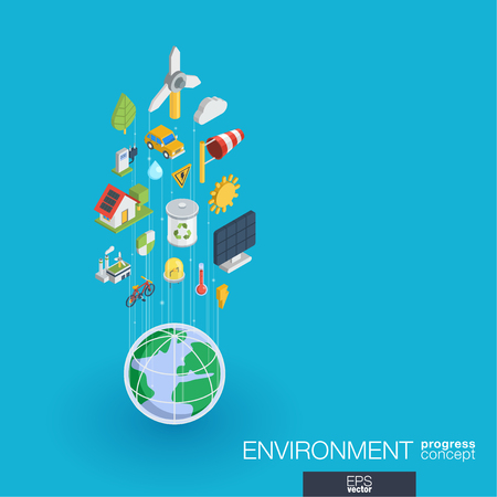 Environmental integrated 3d web icons. Digital network isometric progress concept. Connected graphic design line growth system. Abstract background for ecology, recycle and energy. Vector Infograph