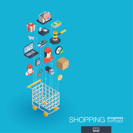 Shopping integrated 3d web icons. Digital network isometric progress concept. Connected graphic design line growth system. Abstract background for ecommerce, market and online sales. Vector Infograph Illustration