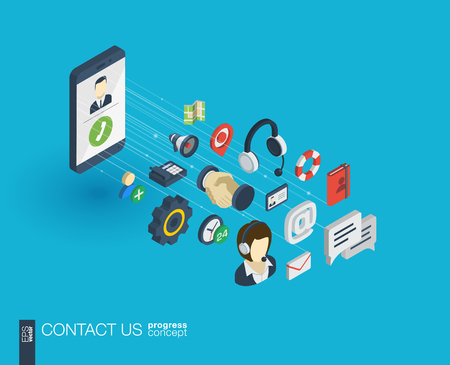 Support integrated 3d web icons. Digital network isometric progress concept. Connected graphic design line growth system. Background for call center, help service, contact us . Vector Infograph