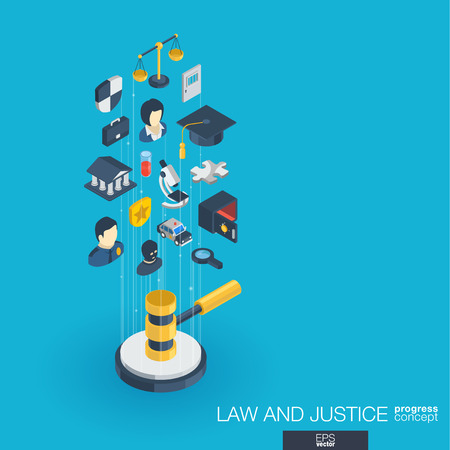 penal system: Law, justice integrated 3d web icons. Digital network isometric progress concept. Connected graphic design line growth system. Abstract background whith lawyer, crime and punishment. Vector Infograph