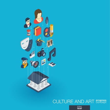 Culture, art integrated 3d web icons. Digital network isometric progress concept. Connected graphic design line growth system. Background for theater artist, music, circus show bill. Vector Infograph Illustration
