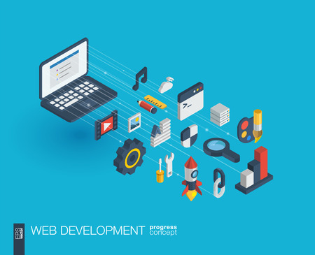 Web development integrated 3d icons. Digital network isometric progress concept. Connected graphic design line growth system. Abstract background for seo, website, app design. Vector Infograph Illustration