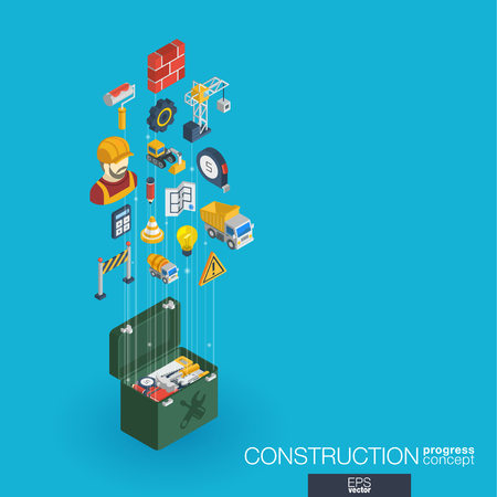 Construction integrated 3d web icons. Digital network isometric progress concept. Connected graphic design line growth system. Abstract background for engineer, architecture, build. Vector Infograph Illustration