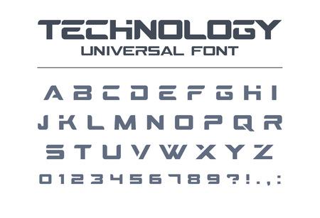 기술 보편적 인 글꼴. 기하학적, 스포츠, 미래, 미래 테크노 알파벳입니다. 군사, 산업, 전기 자동차 경주 로고 디자인을위한 문자와 숫자. 현대적인 미 일러스트