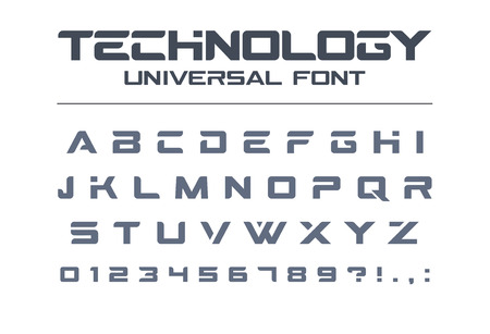 Technology universal font. Geometric, sport, futuristic, future techno alphabet. Letters and numbers for military, industrial, electric car racing logo design. Modern minimalistic vector typeface Illustration