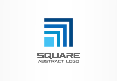 Abstract logo for business company. Corporate identity design element. Technology, Industrial, Logistic, Social Media logotype idea. Square, network, banking growth concept. Colorful Vector icon Ilustração