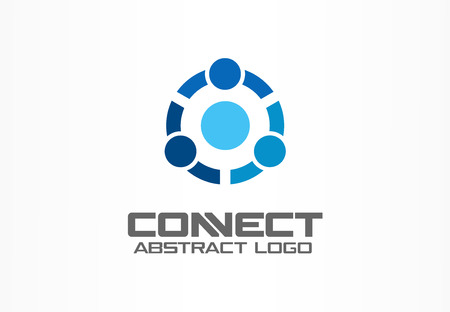 trio: Abstract logo for business company. Corporate identity design element. Technology, Social Media Logotype idea. People connect, Circle, segment, section, globe concept. Colorful Vector icon Illustration