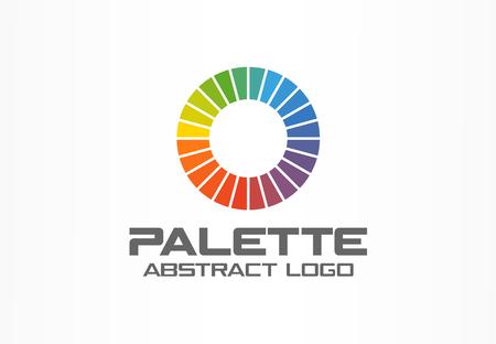 bionics: Abstract logo for business company. Corporate identity design element. Color circle segments, round spectrum logotype idea. Multicolor palette, physics, rainbow concept. Colorful Vector icon