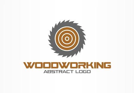 Abstract logo voor bedrijf. Huisstijl ontwerpelement. Zaag, houtbewerking, houtmateriaal logotype idee. Zagerij, cirkel, rond mes rotatieconcept. Kleurrijke vector pictogram