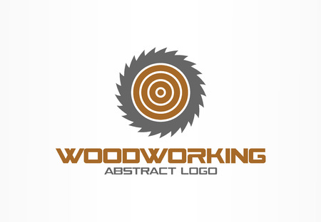 Abstract logo for business company. Corporate identity design element. Saw, woodworking, wood material logotype idea. Sawmill, circle, round blade rotation concept. Colorful Vector icon