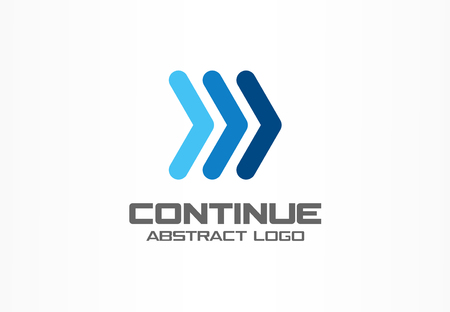 Abstract logo for business company. Corporate identity design element. Arrows right, continue, next, follow logotype idea. Play, acceleration, fast sport racing, rewind concept. Colorful Vector icon