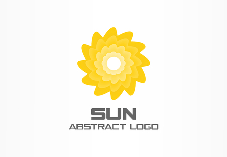 bionics: Abstract logo for business company. Corporate identity design element. Summer travel, eco, rotation sun, hot energy, yellow sunlight logotype idea. Environment, nature concept. Colorful Vector icon