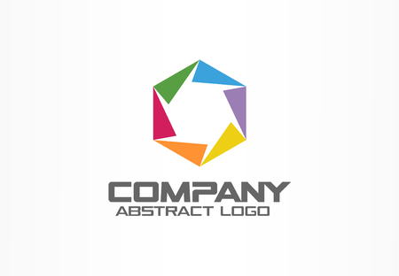 Abstract logo for business company. Corporate identity design element. Camera diaphragm, color photo studio logotype idea. Connect, paint mix, integrated hexagon concept. Colorful Vector icon Vectores