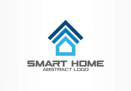Abstract logo for business company. Corporate identity design element. Smart house system, wi-fi remote control logotype idea. Home technology development, alarm concept. Colorful Vector icon