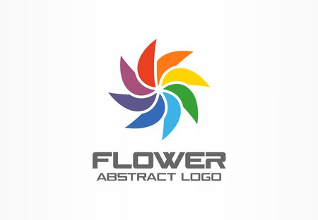 Abstract business company logo. Corporate identity design element. Color circle mix, flower , round spectrum logotype idea. Multicolor art palette, paint swirl, rainbow concept. Colorful Vector icon