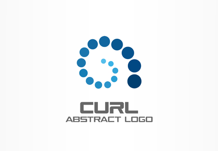 Abstract business company logo. Corporate identity design element. Curl growth, internet connect, development logotype idea. Loading spiral group, swirl, technology progress, concept. Vector icon