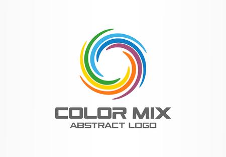 Logotipo abstracto de la compañía de negocio. Elemento de diseño de identidad corporativa. Mezcla de segmentos de círculo de color, idea de logotipo de espectro redondo. Multicolor paleta de arte, remolino de pintura, concepto de arco iris. Colorido icono de vector