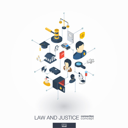 penal system: Law, justice integrated 3d web icons. Digital network isometric interact concept. Connected graphic design dot and line system. Abstract background whith lawyer, crime and punishment. Vector on white.