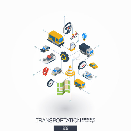jeep: Transportation integrated 3d web icons. Digital network isometric interact concept. Connected graphic design dot and line system. Abstract background for traffic, navigation service. Vector on white. Illustration